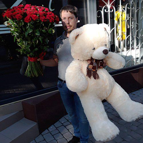 Фото товару 101 троянда і великий ведмедик