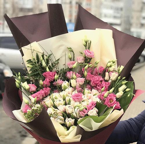 Фото товару Кущова троянда з еустомою
