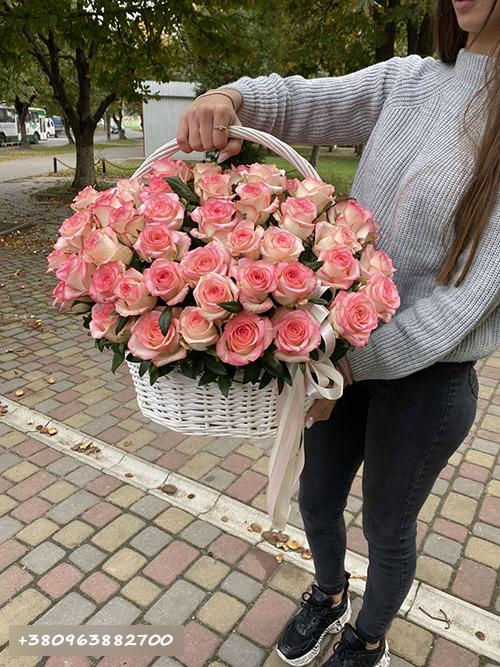 """51 троянда """"Джумілія"""" в кошику фото товару"""