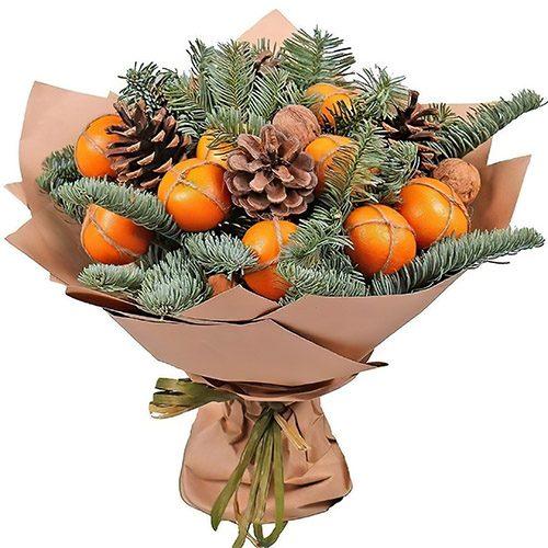 Фото товару Новорічний букет з мандаринами