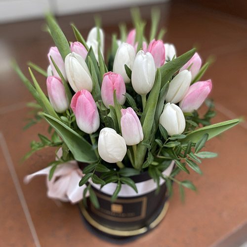 букет 25 тюльпанів у капелюшній коробці