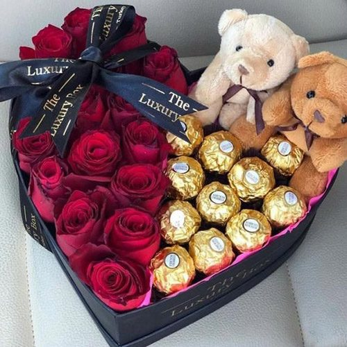 """товар Серце """"Для найулюбленішої"""" троянди, цукерки та ведмедики"""