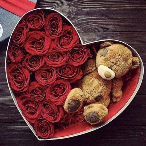 """Серце """"Моя крихітка"""" троянди та плюшевий ведмедик"""