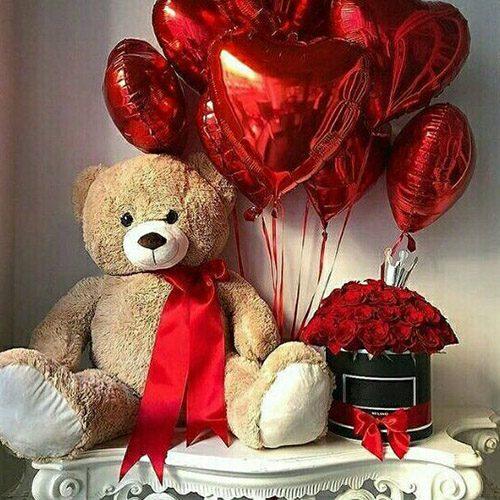 """Подарунок """"Найкращий день"""" великий ведмедик, троянди в коробці та кульки"""