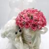 """Подарунок """"Все що вона полюбляє"""" ведмедик, кульки та рожеві квіти"""