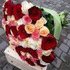 букет 101 різнокольорова троянда фото
